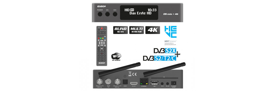 EDISION OS MIO+ 4K H265/HEVC DVB-S2X + DVB-S2/T2/C